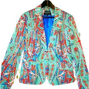 🌟Jones New York Blue Paisley Blazer 12